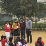Manieesh Singh, TagorePrize Project Manager, Government Girl Senior Secondary School, Kanina, Mahendragarh. Ms. Vinita Rao – Principa, Ms. Sangeeta – Librarian, Pooja- Literary club 2019.02.14 (2)