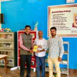 Government Middle School, Sushil Nagqar, Begusarai. Mr. Sriram Singh, Principal, Mr. Rakesh Kumar, TagorePrize Project Manager and Mr. Vishal Pandey, Librarian – 2019.01.03