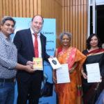Peter Bundalo, TagorePrize Founder with the finalist authors, Kala Ramesh and Menka Shivdasani