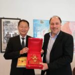 Ambassador of Taiwan to Denmark, Frank S. J. Lee accepting a gift, a copy of One Hundred Poems of Kabir translated from Hindi into English, from TagorePrize Founder Peter Bundalo- May 2nd, 2019.