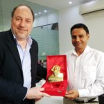 TagorePrize Founder Peter Bundalo's casual visit and presentation of TagorePrize 2019. statuette to our friend at Pan MacMillan India Managing Director Rajdeep Mukherjee April, 24th, 2019.