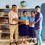 Government Middle School Begusarai, Bihar. (L) Mr. Pushpak Jha, Headmaster. Priya and Sweta, students and Mr. Abhishek Shrivastava, TagorePrize Volunteer – August 23rd, 2019.