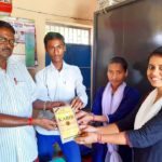 Government Middle School, Gopalpur, Begusarai, Bihar, (L) Gauri Shankar Ji, Principal, Vikesh Kumar, Library In-charge, Soni Kumari, Libriry Co-Incharge and Priyanka Kumari, TagorePrize Volunteer – August 31st, 2019.