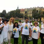 International Day of Yoga celebration at Tomislav Square in Zagreb, Croatia. Andrea, TagorePrize Board Member (L) H. E.Arindam Bagchi, Indian Ambassador to Croatia and wife Ananya Bagchi (middle) – June  21st, 2019.