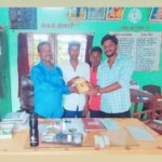 TagorePrize Volunteer Harsh Vardhan (R) at Government Middle School Rajaur, Begusarai, Bihar with Mr. Mahendra Ram, Principal (L) and Mr. Aditya Raj, Librarian In-charge (M) – August 30th, 2019.