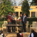 Government Senior Secondary School, Mandola, Rewari, Haryana. Maneesh Singh, TagorePrize Project Manager, Mr. Sunil, Principal, Kusum Lata, Librarian and Priya, Student Literary Club President – February 12th, 2019.
