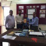 Government Model Senior Secondary School, Bhojawas, Haryana. Dayanand Singh, Librarian,Maneesh Singh, TagorePrize Project Manager, Yaduvendra Singh, Principal, & Kushi, Literary Club Member – April 10th, 2019.