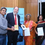 Peter Bundalo, TagorePrize Founder with the finalist authors, Kala Ramesh and Menka Shivdasani