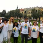 International Day of Yoga celebration at Tomislav Square in Zagreb, Croatia. Andrea, TagorePrize Board Member (L) H. E.Arindam Bagchi, Indian Ambassador to Croatia and wife Ananya Bagchi (middle) – June  21st, 2019.